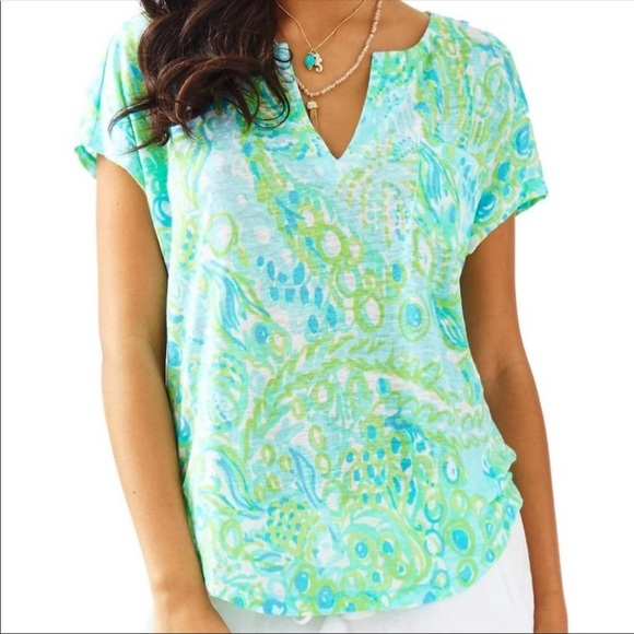 Lilly Pulitzer Tops - Lilly Pulitzer Any Fins Possible Shirt XXS Blue